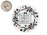 "3755 - 2 1/2"" Making Spirits Bright Favor Label, on White, 50 Count"