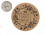 "3756 - 2 1/2"" Making Spirits Bright Favor Label, on Kraft, 50 Count"