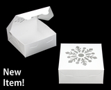 "3757 - 6"" x 6"" x 2 1/2"" White/White Snowflake Window, Lock & Tab Holiday Box, 50 Count. A06"