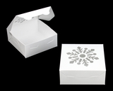"3757 - 6"" x 6"" x 2 1/2"" White/White Snowflake Window, Lock & Tab Holiday Cookie Box, 50 Count"