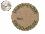 "3763 - 2 1/2"" To: From: Wreath Favor Label, on Kraft, 50 Count"