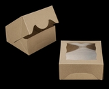 """3784 - 5"""" x 5"""" x 2 1/2"""" Brown/Brown with Window, Timesaver Box with Lid"""