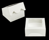 """3788 - 5"""" x 5"""" x 2 1/2"""" White/White with Window, Timesaver Box with Lid. A09"""