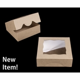 """3843 - 7"""" x 7"""" x 2 1/2"""" Brown/Brown with Window, Timesaver Box With Lid"""