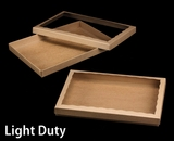 "3850x3552 - 14"" x 10"" x 1 1/4"" Brown/Brown Light Duty Two Piece Simplex Box Set, with Poly Window. A12xA08"