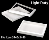 "3851x3520 - 12 1/2"" x 9 3/4"" x 1 1/4"" White/White Light Duty Two Piece Simplex Box Set, with Poly Window. C12xC08"