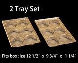 "3857x3857 - 2 pack set Gold 6 Cavity Tray  9 1/2"" x 6"" x 15/16"""