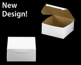 """542 - 10"""" x 10"""" x 5"""" White/Brown without Window, Lock & Tab Box With Lid"""