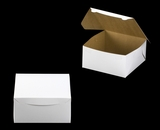"542 - 10"" x 10"" x 5"" White/Brown without Window, Lock & Tab Box With Lid. A36"