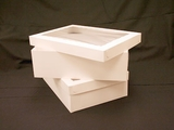 "743x293 -  19"" x 14"" x 6"" White/White Lock & Tab Box Set with Window, 50 COUNT. A22xA09"