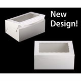"750 - 14"" x 10"" x 6"" White/White Lock & Tab Box with Window, 50 COUNT"