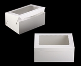 "750 - 14"" x 10"" x 6"" White/White Lock & Tab Quarter Sheet Cake Box with Window, 50 COUNT"