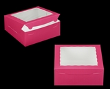 "810 - 10"" x 10"" x 4"" Pink/White with Window, Lock & Tab Box With Lid"