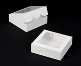 "931 - 8"" x 8"" x 2 1/2"" White/White with Window, Timesaver Box With Lid. A15"