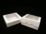 "949 - 9"" x 9"" x 2 1/2"" White/White with Window, Timesaver Box With Lid. A17"