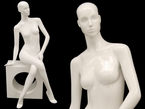 High-End, Sitting, Abstract, Glossy-White Female Mannequin Display w/Block