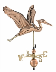 "26"" Blue Heron Weathervane, Polished Copper"