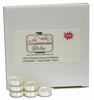 144 (one gross) Sewphisticated Bobbin Thread - Size L - Plastic Sided - White