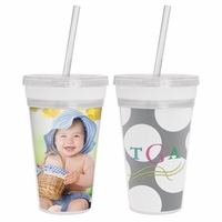 NEW 16 oz. Embroidery/Photo Insert Slurpy Tumbler with Straw