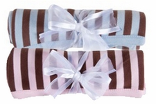 """30"""" x 30"""" Brown Striped Receiving Blanket - PINK only"""
