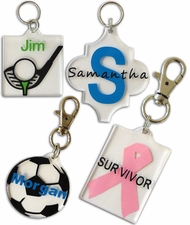 Acrylic key chains for adhesive vinyl and hardware