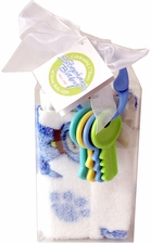 Blankie & Key Rattle Set - Blue Dog