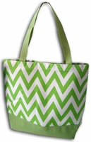 Clearance Priced - Chevron Print Canvas Tote Bag - Lime