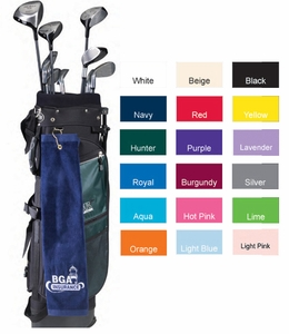 "GROMMETED Tri-Fold Premium Terry Velour Hemmed Golf Towel - 16"" x 26"""