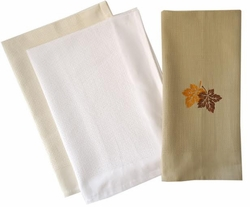 Improved Waffle Weave Kitchen Towel with Border