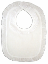 Lace Eyelet English Style Bib - White