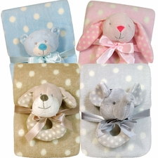 Plush Dot Blanket & Rattle Set