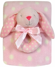 ***Clearance Priced*** - Plush Dot Blanket & Rattle Set - Bunny
