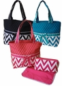 Quilted Cotton Diaper Bag - Chevron Print