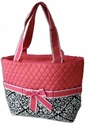 Quilted Cotton Diaper Bag - Damask