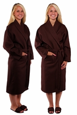 Clearance Sale - $9.00 each -Waffle Weave Bath Robes - shawl collar - Chocolate Brown