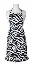 Zebra Print Ruffled Aprons - Black/White