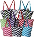 Zippered closure - Chevron Zig Zag Tote Bag