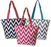 **Clearance Priced** - Zippered closure - Chevron Zig Zag Tote Bag