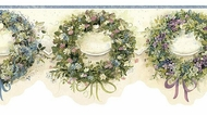 Blue Calico Wreaths Wallpaper Border FAM65071b