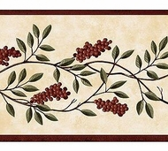 Burgundy Berry Vine Wallpaper Border FAM65251b