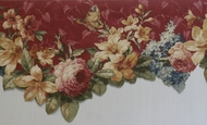 Burgundy Floral Scalloped Wallpaper Border 5808477