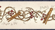 Clothespins and Rosehips Wallpaper Border FAM65041b