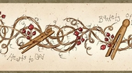 Clothespins and Rosehips Wallpaper Border FAM65042b