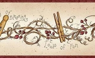 Clothespins and Rosehips Wallpaper Border FAM65043B