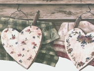 Country Clothesline with Hearts Wallpaper Border 5812146
