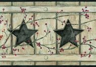 Country Cutout Star and Berries Wallpaper Border AC4412bd