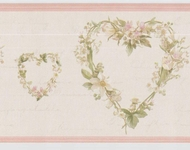 Country Heart Wreaths Wallpaper Border VC052243b