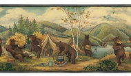 Dancing Camping Bears Wallpaper Border GG54041b
