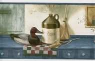 Ducks Jug Basket on Country Shelf Wallpaper Border SP76449
