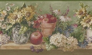 Floral and Apples Wallpaper Border 5508330